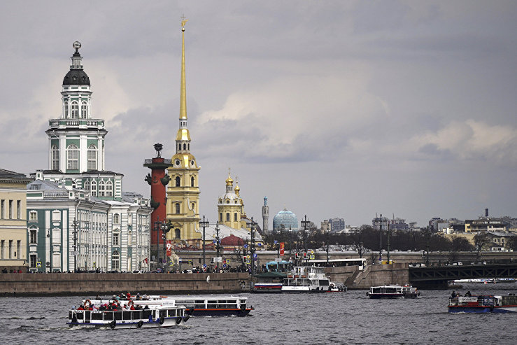 Riverboats on the Neva River