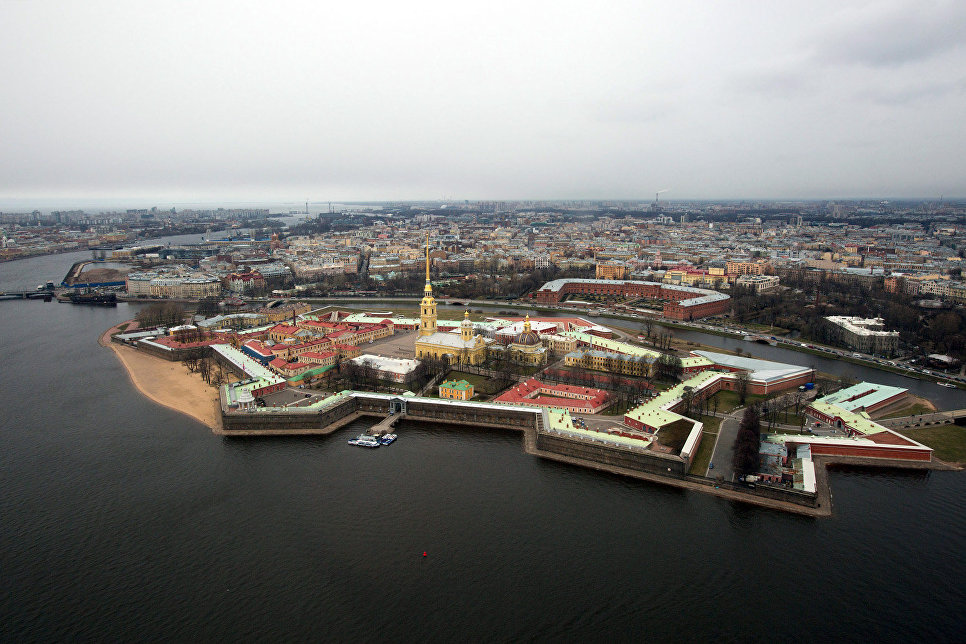 An aerial view of the Peter and Paul Fortress